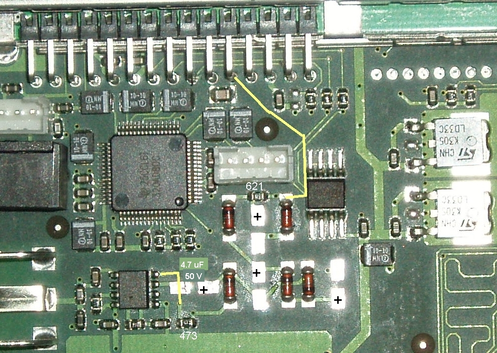 FF-Karte DVB-C Rev. 2.1 mit ausgelöteten Elkos